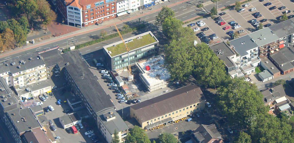 Baufortschritt Luftbild Neubau Sparkasse Walsum