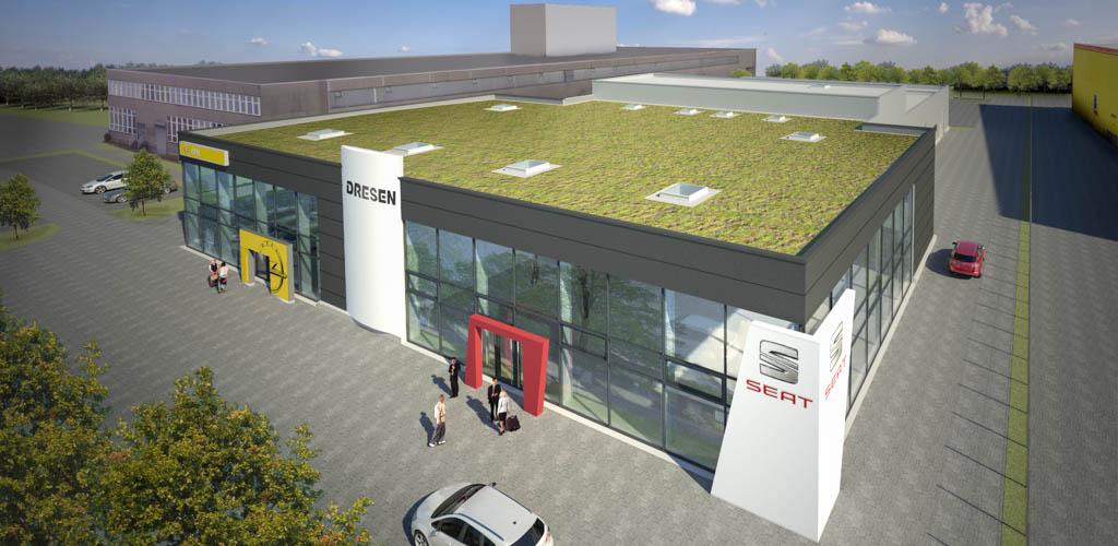 Rendering Neubau Seat Autohaus Dresen von Ropertz + Partner Architekten
