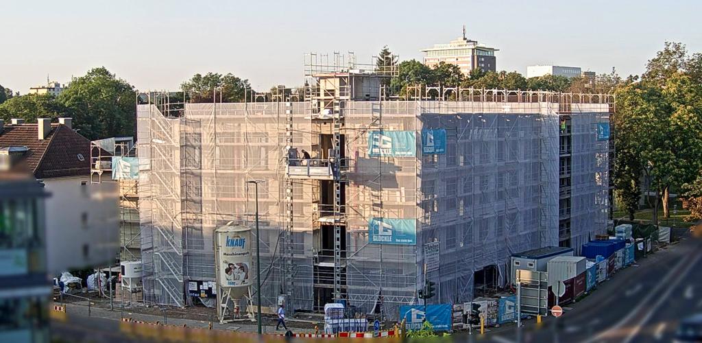 Aktueller Baufortschritt beim Neubau des Jugendamts in Gießen